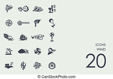 Set of wind icons - wind vector set of modern simple icons