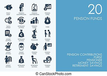 Set of BLUE HAMSTER Library pension funds icons - BLUE...