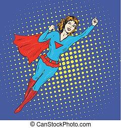 Super hero woman flying vector poster in comic retro pop art...