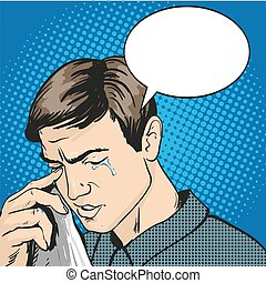 Man in stress and crying. Vector illustration in comic retro...