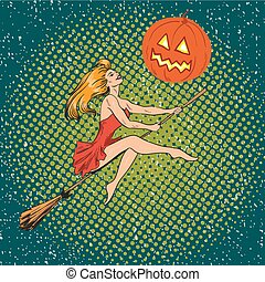 Halloween concept vector poster in retro comic pop art style. Witch girl flying on a broomstick, pumpkin moon