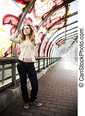 Tunel Scene - Young Woman In The Graffiti Painted Tunel