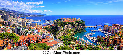 Skyline of Monaco with Prince Palace, old town and port -...