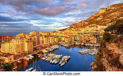 View of the Port Fontvieille on sunrise, Monaco, France -...