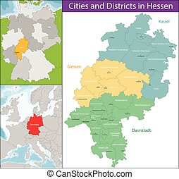 Map of Hesse - Hesse is a federal state of the Federal...