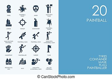Set of BLUE HAMSTER Library paintball icons - BLUE HAMSTER...