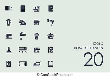 Set of home appliances icons