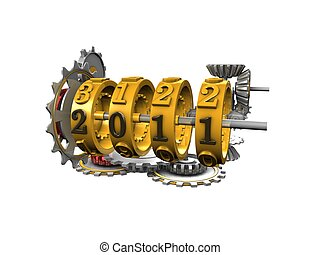 2011yearMechanicalCounter - 3d image, Conceptual mechanical...