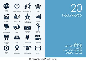 Set of BLUE HAMSTER Library Hollywood icons - BLUE HAMSTER...