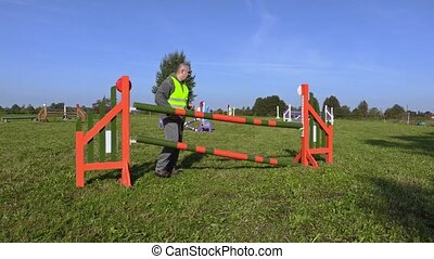 Horse handler arranged hurdle