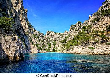 Calanque d'En Vau near Marseilles, France - Beach and lagoon...
