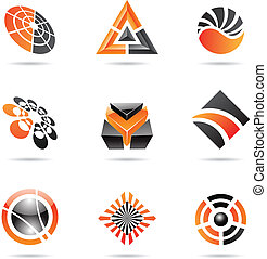 Abstract black and orange Icon Set 23 - Abstract black and...