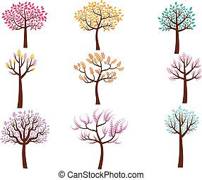Vector stylized trees with color crowns with leaves