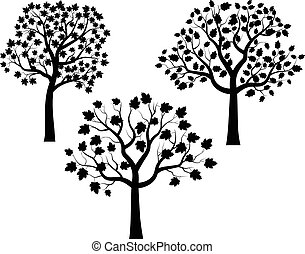 Black trees with leaves silhouettes
