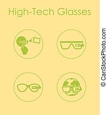 Set of high-tech glasses simple icons - It is a set of...