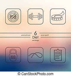 Set of diet icons - diet modern icons for mobile interface...