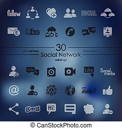 Set of social network icons - social network modern icons...