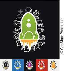 rocket paper sticker with hand drawn elements - hand drawn...