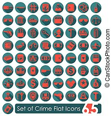 Set of crime icons - Set of crime flat icons for Web and...