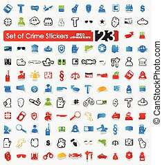 Set of crime stickers - crime vector sticker icons with...