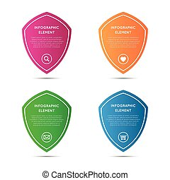 Set of simple pointers in the shape of a shield, vector elements for your infographic