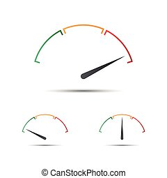 Set of simple vector tachometer with indicator in green,...