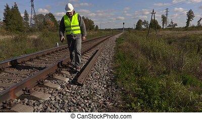 Railroad worker near the rails