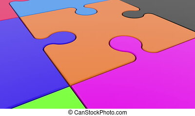 Colorful puzzle pieces on white