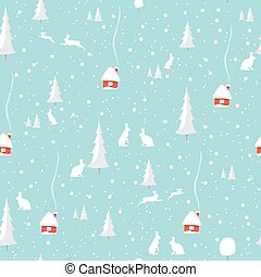 Merry christmas rabbit, Happy New Year, seamless pattern