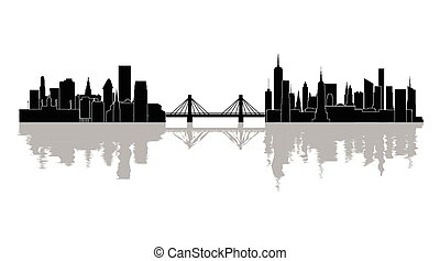 The silhouette of the city