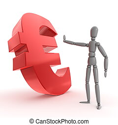 Stopping Shiny Red Euro Sign - Side View - grey shiny person...