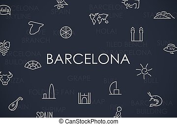 Barcelona Thin Line Icons - Thin Stroke Line Icons of...