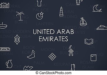 United Arab Emirates Thin Line Icons - Thin Stroke Line...
