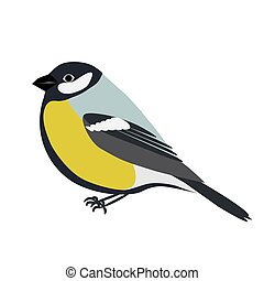 Cartoon titmouse vector illustration. Green and blue...