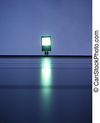 Floodlight with green light - View from below on floodlight...