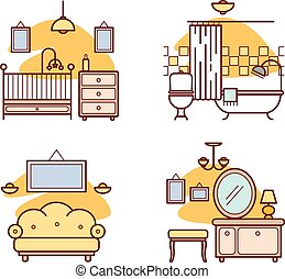 Home room icons. Living room, bedroom, bathroom for your...