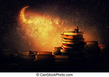 Midnight tale - Boy sitting alone on a pile of books,...
