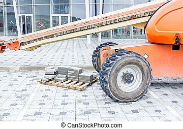 Cherry picker. Boom lift. Low angle view. - Cherry picker is...