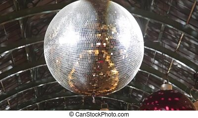 Disco Ball Reflection - Christmas Decoration With Disco Ball...