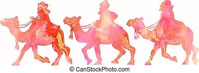 Watercolour Magi Silhouettes - A watercolour picture of...