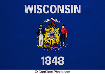 Flag of Wisconsin real detailed fabric texture - Flag of the...