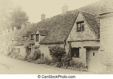 Row of Cotswold Cottages Vintage Scene