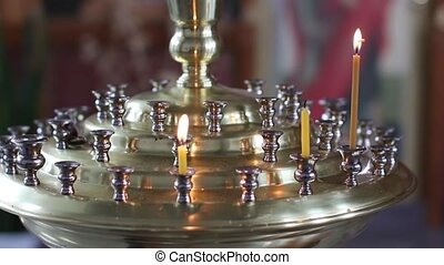 requiem table with candles in orthodox church - requiem...