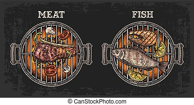 Barbecue grill top view with charcoal, fish and beef steak,...