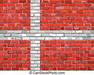 Flag of Denmark on a brick wall