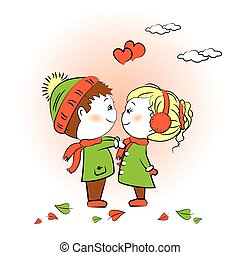 Loving boy and girl standing face to face, Valentine's Day greeting card