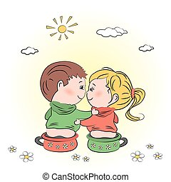 valentine's day illustration with boy and girl