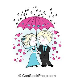 Couple in love standing under an umbrella in the rain