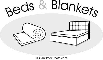 Beds and blankets. Vector illustration