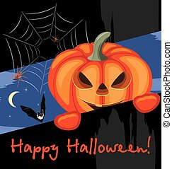 Happy Halloween. Greeting postcard. Vector illustration